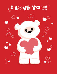 white teddy bear holding heart on a red background. I love you.