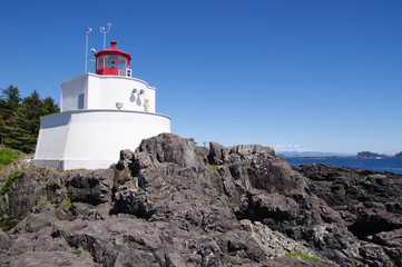 Amphitrite Lighthouse in Ucluelet, Vancouver Island, British Col