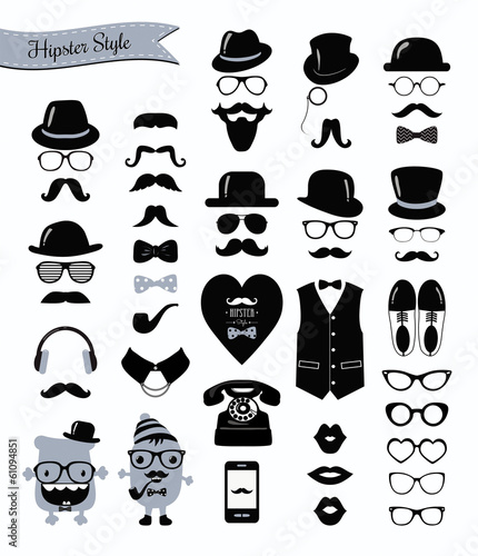 Hipster Black and White Retro Vintage Vector Icon Set - 61094851