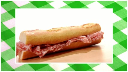 sandwiches edited sequence over green tablecloth background