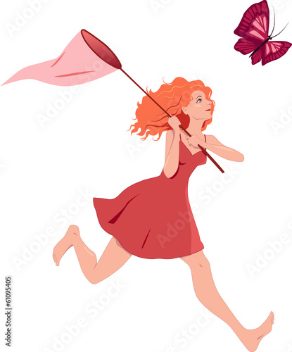 Redhead girl in a red dress chasing a butterfly with a net