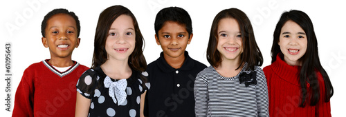 Children Together On White Background