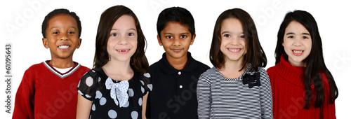 Leinwanddruck Bild Children Together On White Background