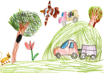 auto on outdoor. child drawing