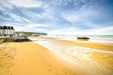 Arromanches les Bains, Normandy, France. seafront beach and rema