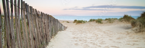 Panorama landscape of sand dunes system on beach at sunrise © veneratio