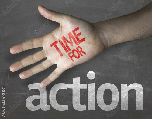 Educational composition with the message Time for Action