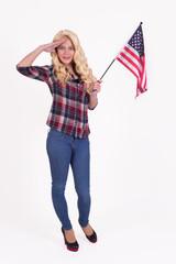 Isolated american girl with u.s. flag