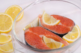 Raw trout steaks with lemon