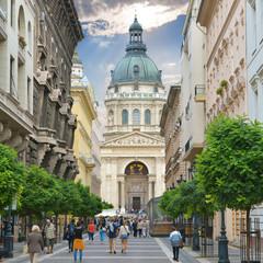 Zrinyi Utca street and St. Stephen`s Basilica
