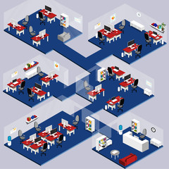 3d Isometric company with office furniture, working desks etc