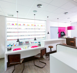 Nail and pedicure saloon modern with nail polish colorful in a r