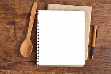 Blank notepad for recipes