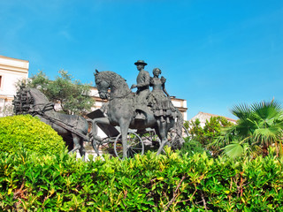 statue of carriage spanish horses in Jerez da la Frontera. Andal