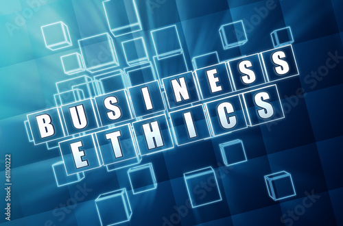 business ethics in blue glass blocks
