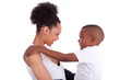 Young african american single mother with her son - Black people