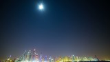 night light time lapse from the palm in dubai marina