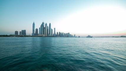 day light panoramic time lapse from palm on dubai marina