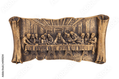 Last supper of Christ relief, isolated on white