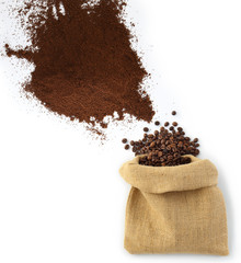 beans and coffee powder with bag