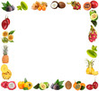 Frame of exotic fruits isolated on white