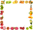 Frame of exotic fruits isolated on white