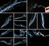 Collage of abstract smoke on black background
