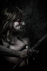 History.savage warrior with iron sword