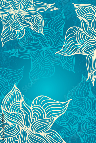 Abstract floral Background with flowers   grunge in marine