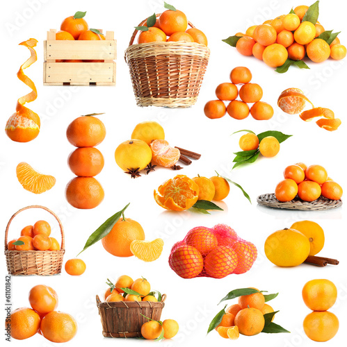 Collage of fruits isolated on white