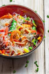 Vegetables with noodles and shrimp