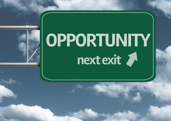 Opportunity, next exit creative road sign and clouds
