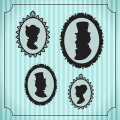 Silhouette portraits of men and women in vintage frames