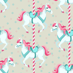 Carousel horses. Children seamless vector background