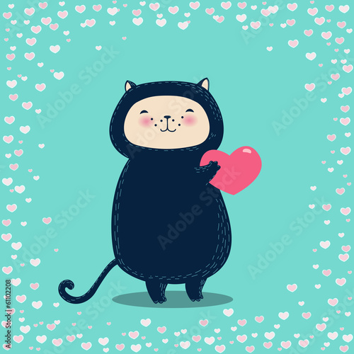 Funny cat holding heart. Beautiful Valentine's day greeting card