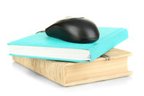 Computer mouse on books isolated on white
