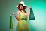 young spring woman with shopping bag