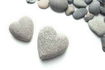 Grey stones in shape of heart, isolated on white