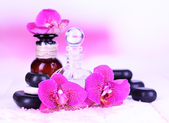Beautiful spa setting with orchid