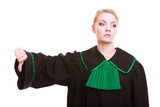 Lawyer wearing classic polish gown thumb down gesture