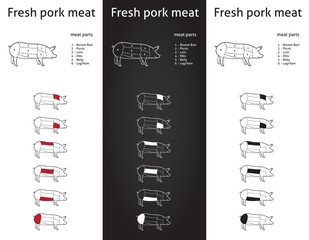 Fresh Pork meat parts Icons for packaging and info-graphic 1