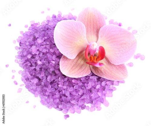 Beautiful blooming orchid flower  and heap of sea salt,