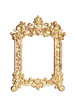 Gold carved picture frame isolated with clipping path