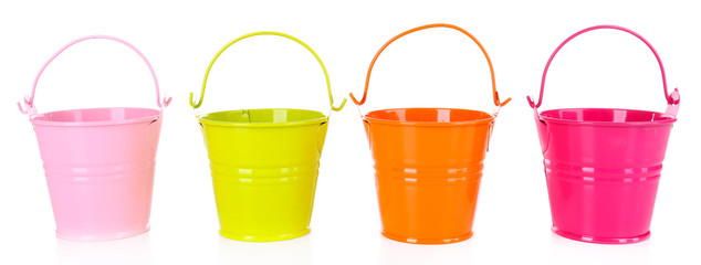 Empty buckets isolated on white