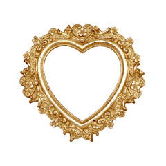Old golden heart picture frame with clipping path