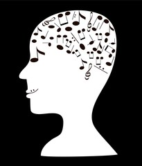 Illustration of human head silhouette with notes,eps