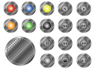 Round perforated buttons, vector