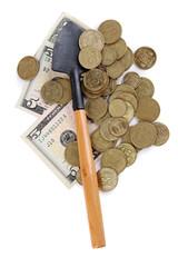 Money with shovel isolated on white