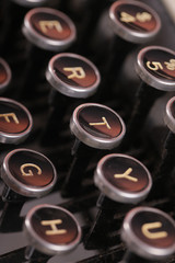 Shallow focus vintage typewriter keys
