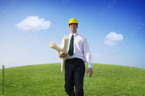 Architect Walking On a Hill